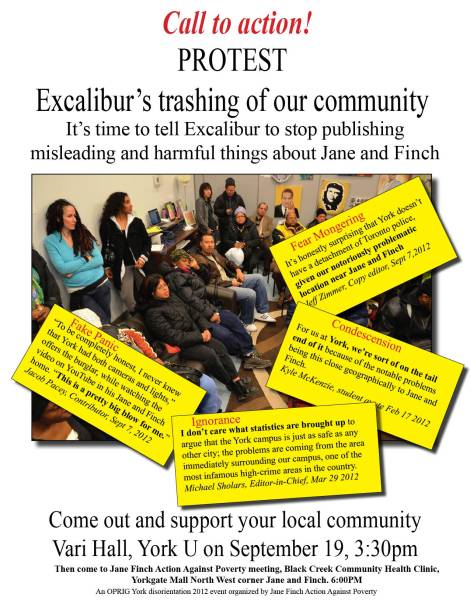 Excal protest flyer