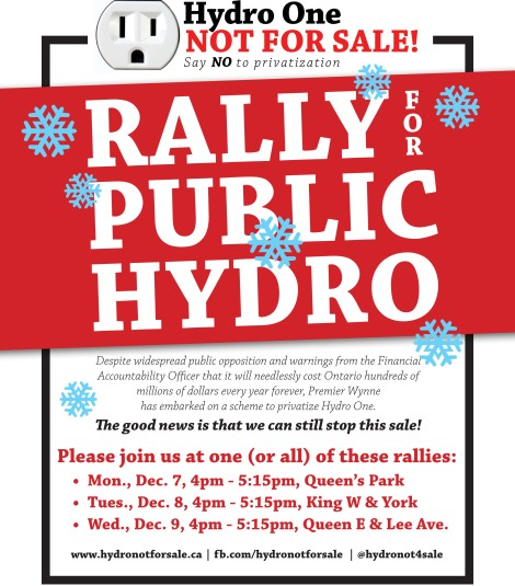 hydro one DEC TO rallies poster