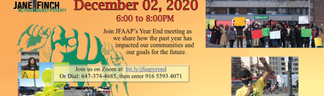 JFAAP year end 2020 poster December 2nd 6pm - 8pm